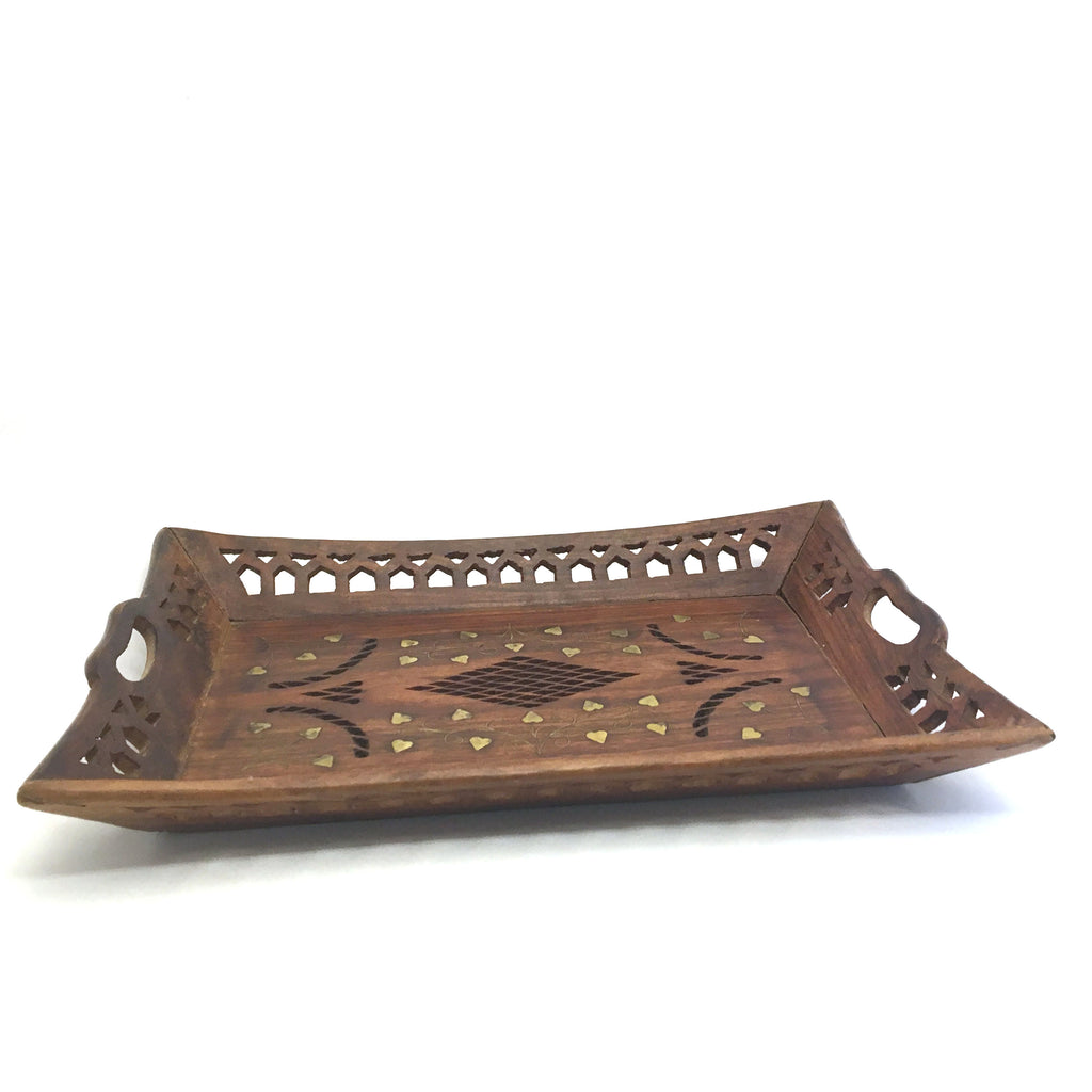 Vintage India All Natural Wooden Decorative Handmade Sheesham Platter Tray