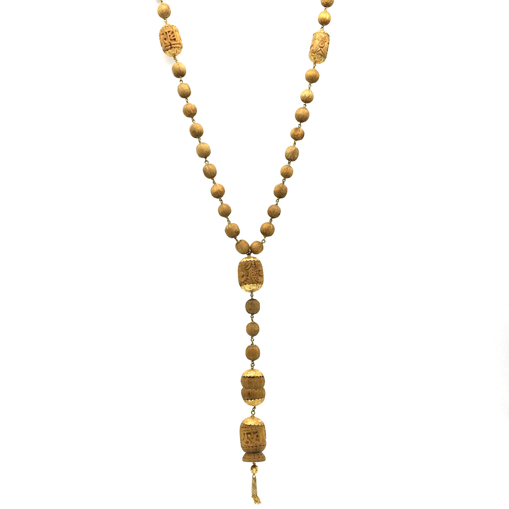 Handmade Tulasi Tulsi Beads with Genuine India Gold Caps Necklace Mala  25""