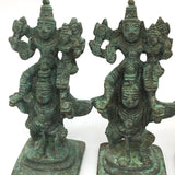 Antique Brass Garuda Carrying Lord Vishnu and Lakshmi on His Shoulder Statues