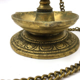 Decorative Brass Diya Aarti Deepak Lamp Puja Offering Handcrafted  -Chain 19.25""