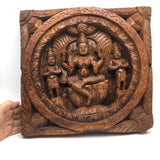 Hand-carved Solid Wood Carved Mata Maa Lakshmi Hindu Goddess of Fortune Idol 11.