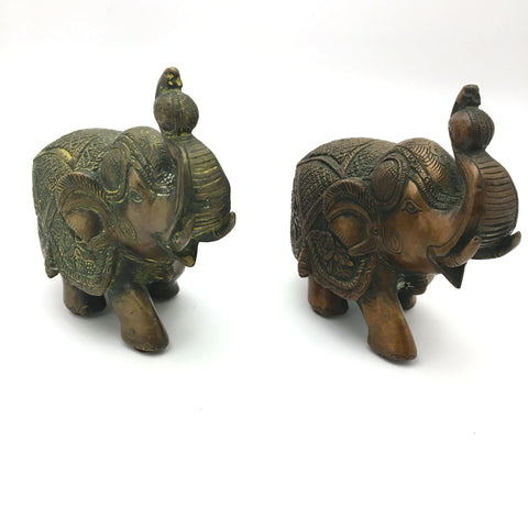 2 Handcrafted Decorative Solid Brass Elephant Statue Trunk Up - Fine Detail