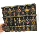 Hand-carved India Colorful Decorative Solid Wood Wall Hanging Panel Plaque 5.6""