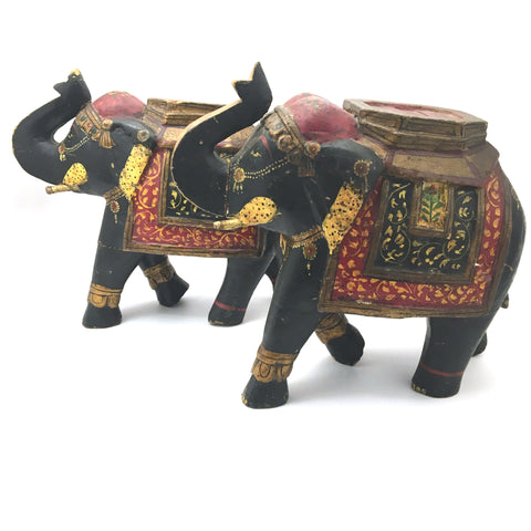 2 Handcrafted Decorative Wood Elephant Statues Trunk Up - Fine Detail - Colorful