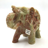 Pair Soapstone Elephants India Handcrafted Trunk Up Statue- Fine Lovely Detail