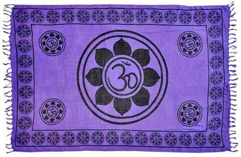 Lotus Om Purple Large Meditation Yoga Prayer Shawl - Om Aum Altar Cloth Rayon