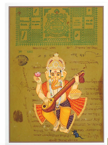 "Set of 4 Ganesh Ganapti Greeting Cards Rajasthani Miniature Painting Hinduism 5""x7"""