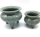 Set of 2 Longquan Celadon Glaze Porcelain Tripod Crackle Incense Burner