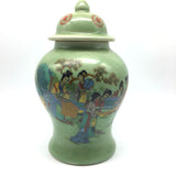Porcelain Crackle Glazed Green Hand-painted Chinese Jar Vase with Lid 9.25""