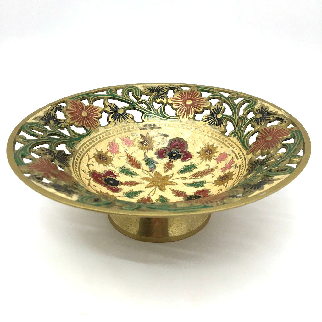 India Colorful Ornate Brass Cutout Bowl Centerpiece Brass - Lovely Detail