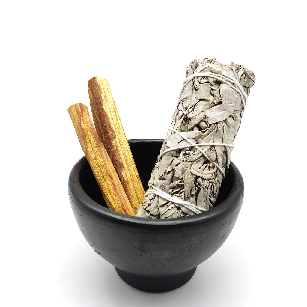 Organic Clay Burner Smudging Bowl - White Sage Incense Amazonian Palo Santo Set
