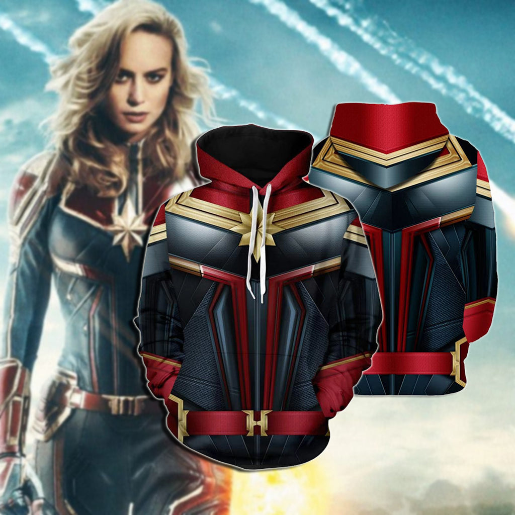 Cool Captain Marvel COS 3D Printing Hoodie