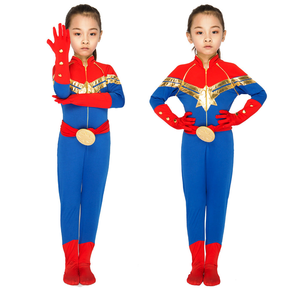 Marvel New Heroine Captain Marvel Cosplay Tight Onesies with Belt and Badge for Adult and Kids