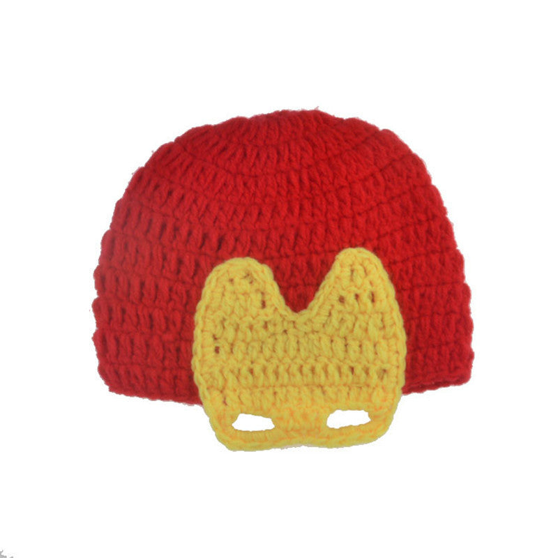 Iron Man Kids Baby Photography Hand Knit Hat Set