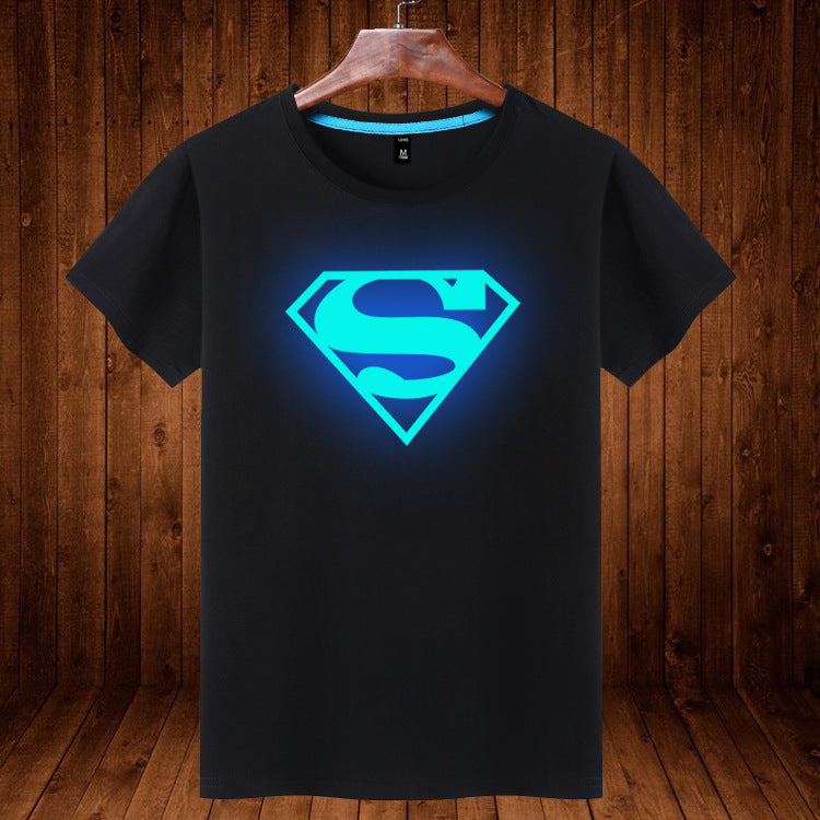 SuperMan Students Cotton Luminous Short Sleeve T-Shirt