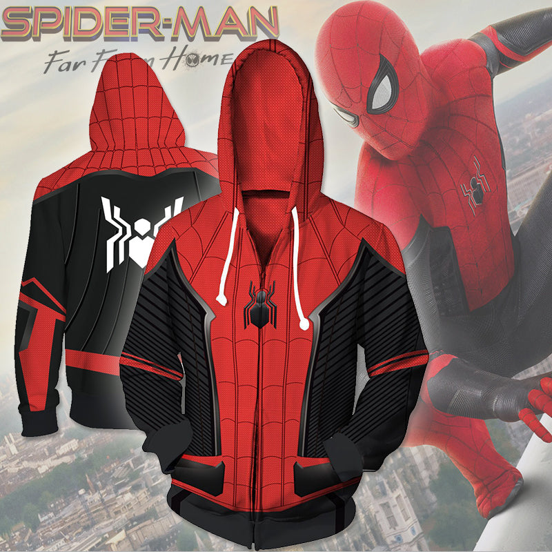 Spider Man Far Form Home Zip Up Hoodie