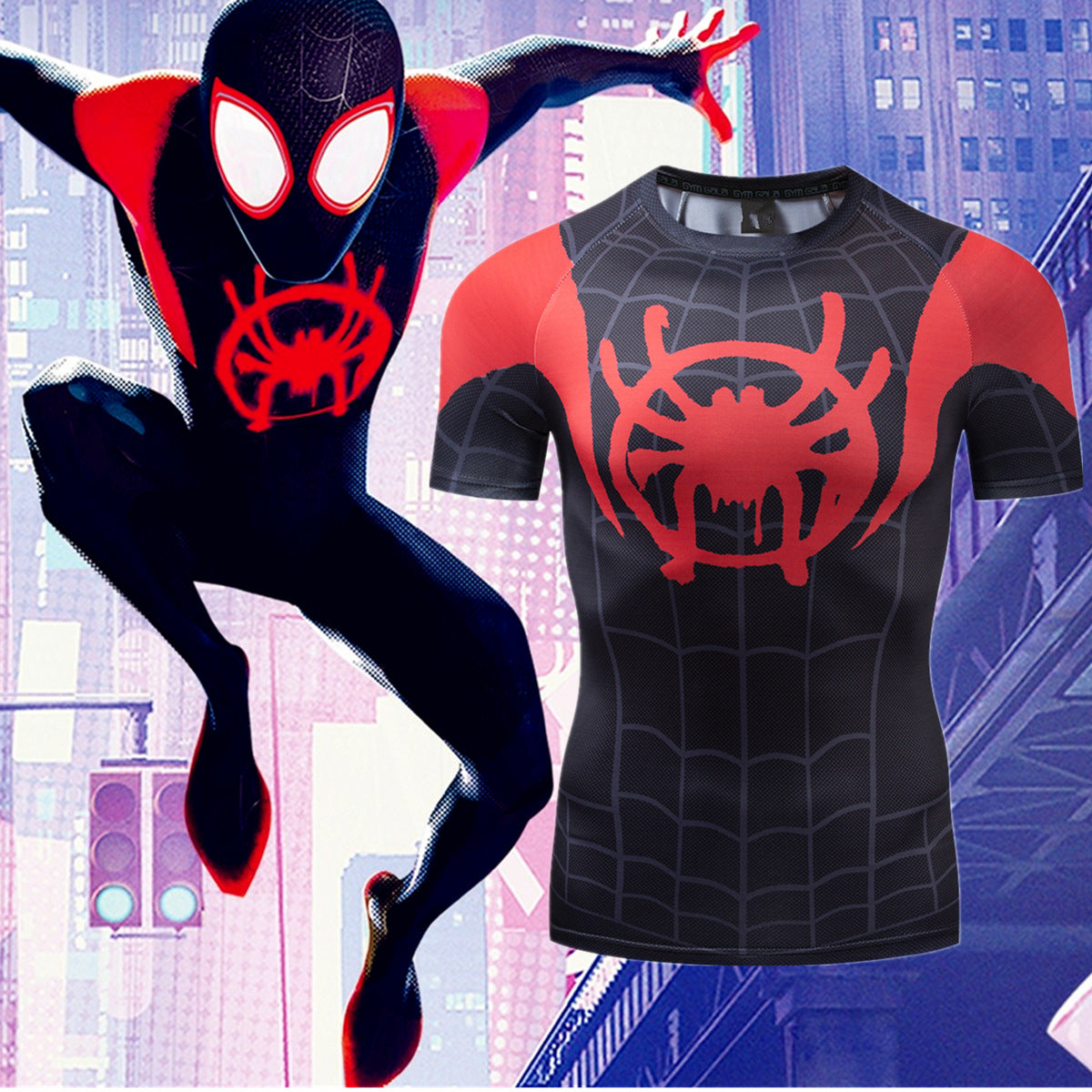 Into the Spider-Verse:3D Digital Printing short sleeve T shirt
