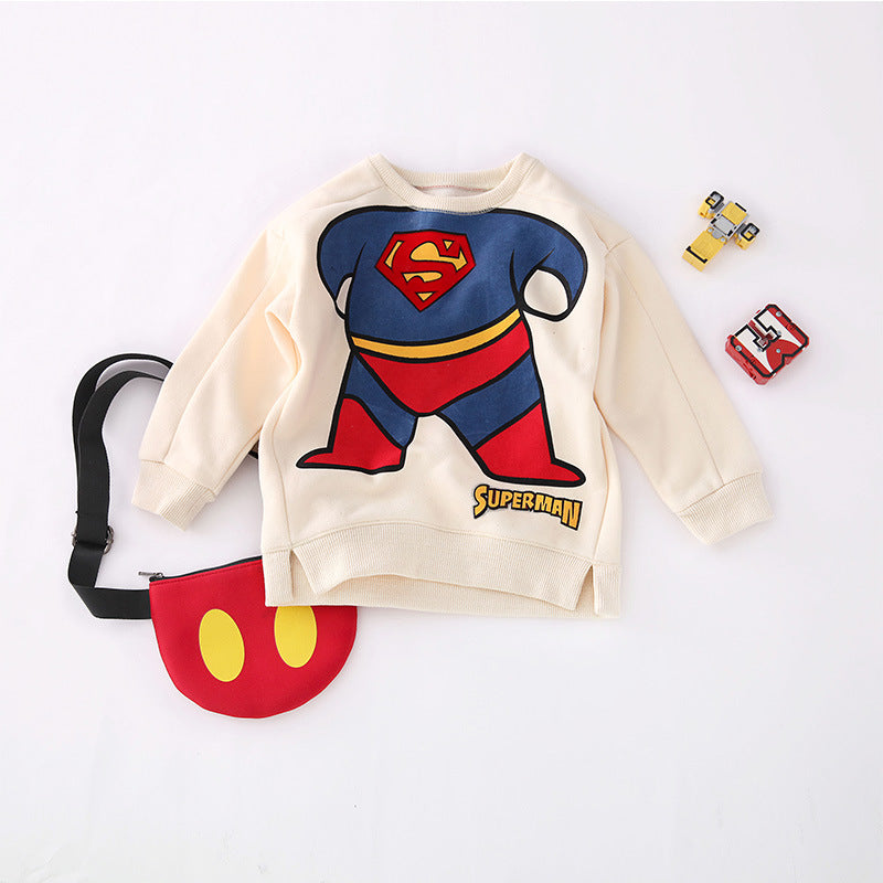 Superman cartoon printed children's sweater