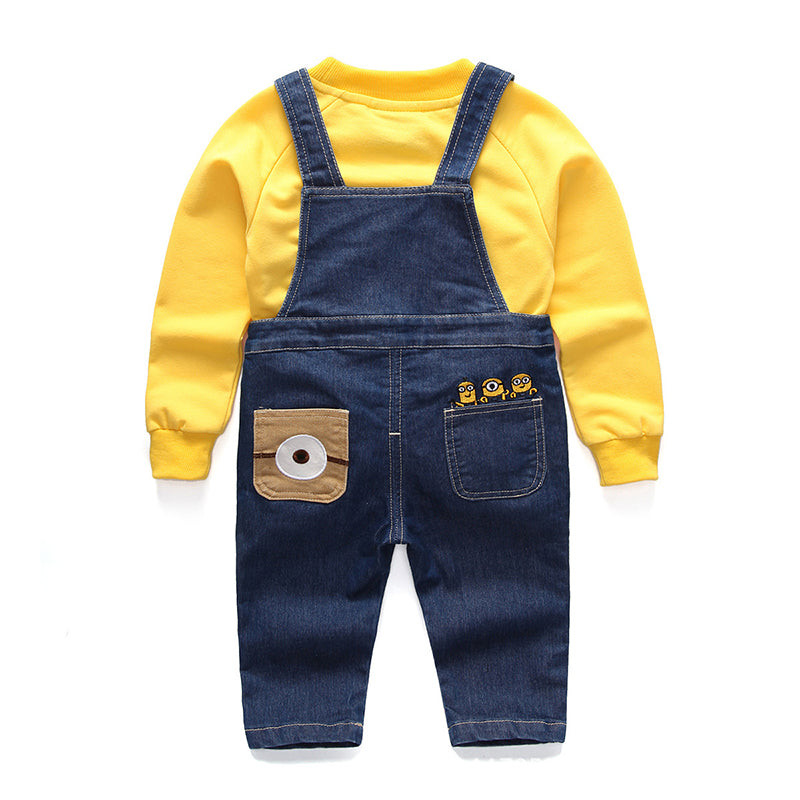 Cute Minions Denim Overalls and Cotton Sweater Set for Kids