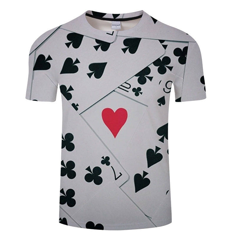 Men's Summer Poker printed Short-Sleeved T-shirt