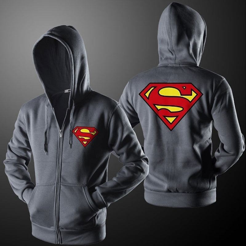 New Superman Print Cardigan Men's Casual Zipper Hoodies