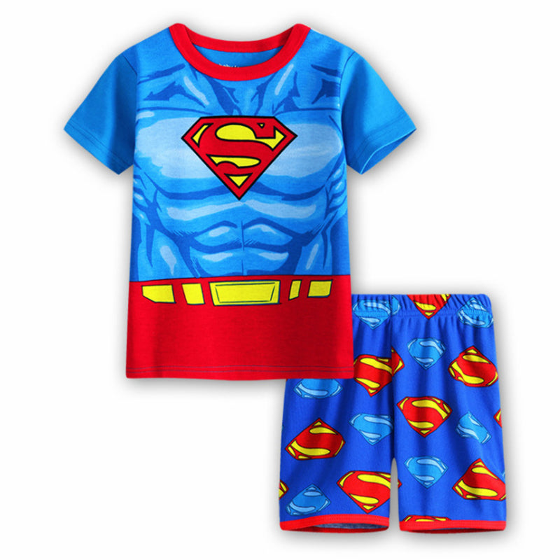 Summer cotton children's superman short-sleeved pajamas