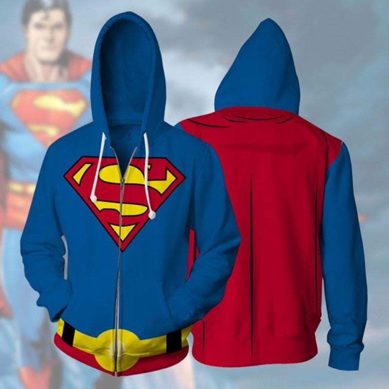Superhero Superman 3D anime print zipper shirt hooded sweater