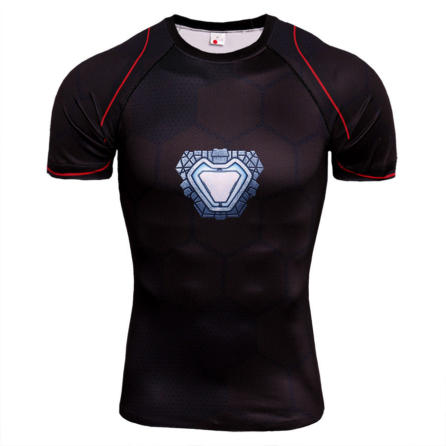 Iron Man Clothes Fitness Quick-drying Short Sleeve T-Shirt