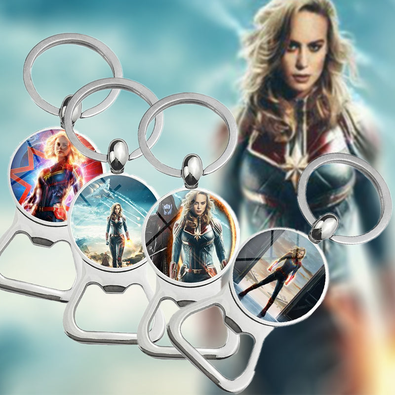 Captain Marvel Bottle Opener Keychain Time Gemstone Keychain