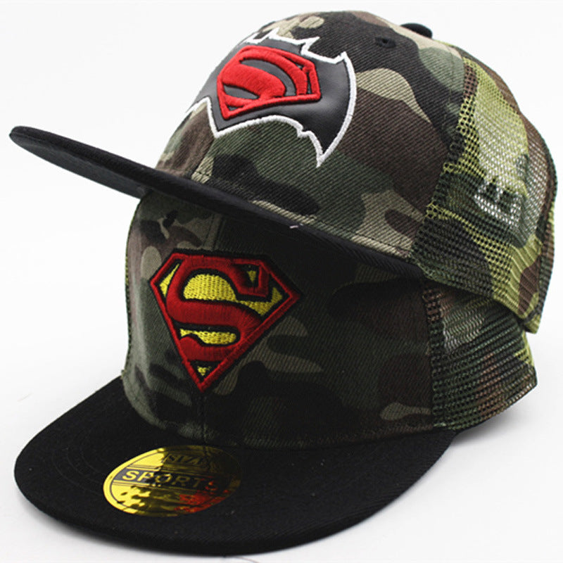 Embroidered Letter The Flash Batman Superman Spiderman Camouflage Net Cap for Kids