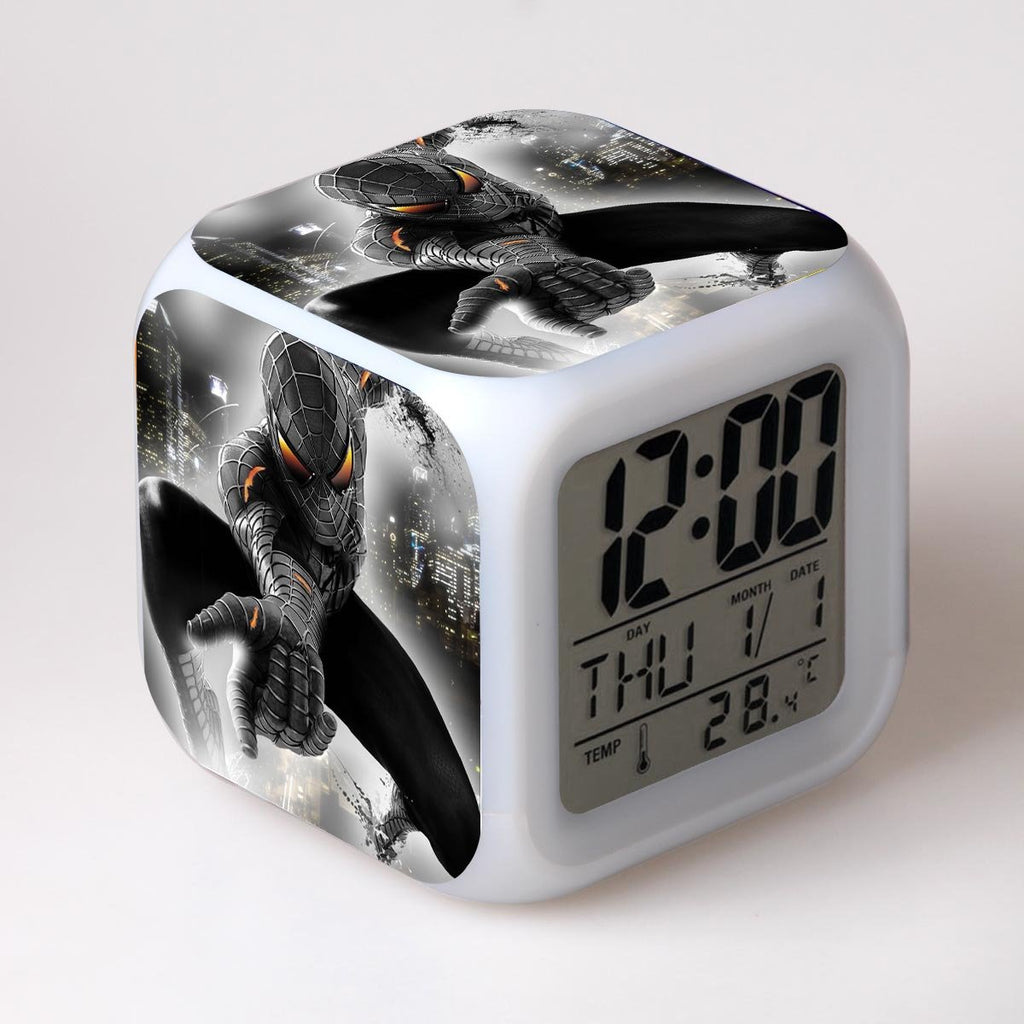 Cool Spider Man Colorful LED Light Alarm Clock