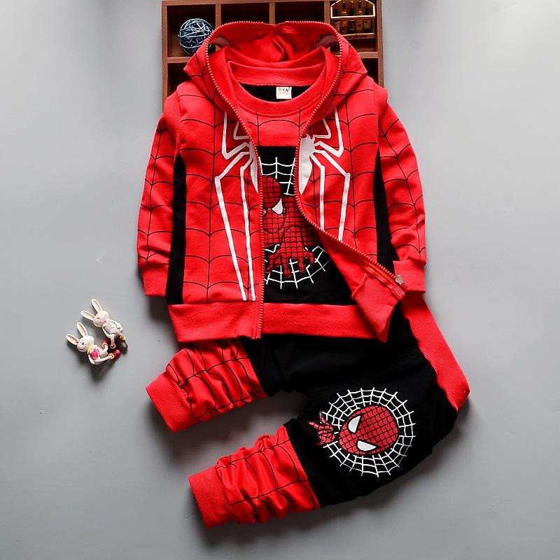 Trendy Spider-Man Zip Up Hoodie 3-Piece Set for Kids