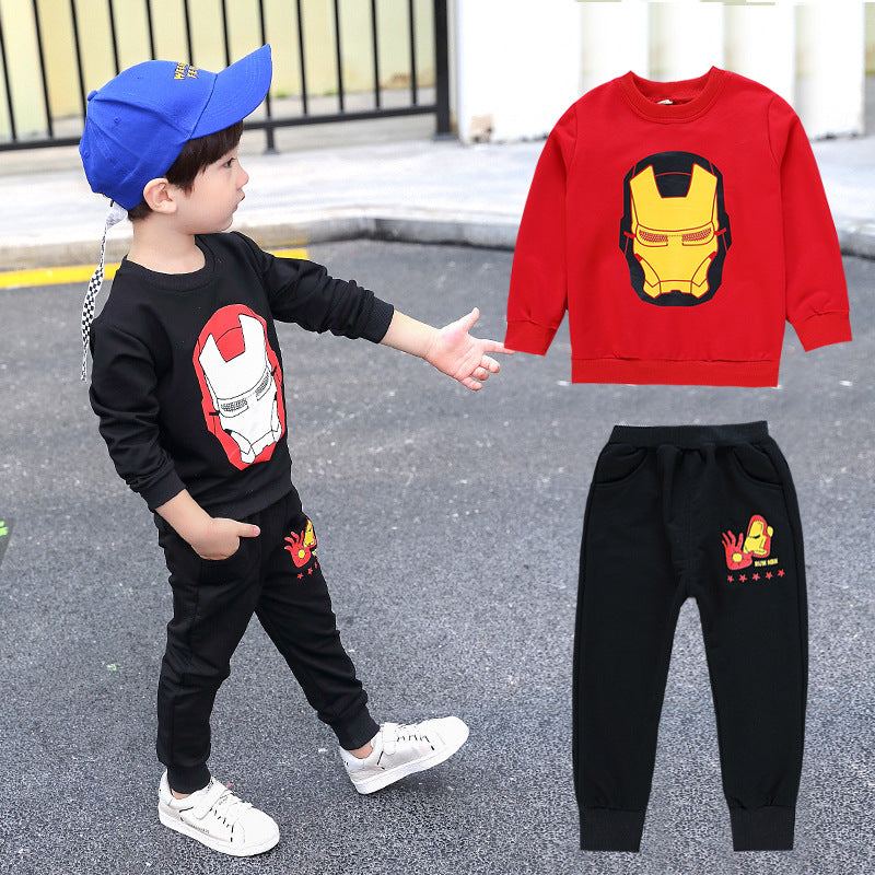 Cotton Iron Man Round Neck Sweater Suit for Kids