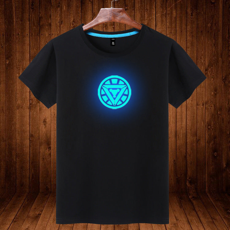 Marvel Iron Man Students Cotton Luminous Short Sleeve T-Shirt