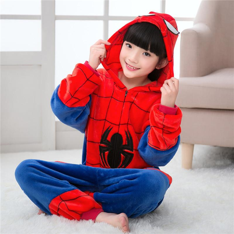 Spiderman Flannel Thickened One-Piece Pajamas for Kids