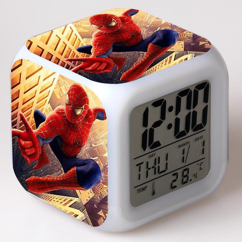 Spider Man Colorful LED Light Alarm Clock