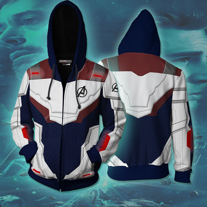 Avengers 4 : Endgame Quantum Battle Suit 3D Printed Navy Blue Hoodie