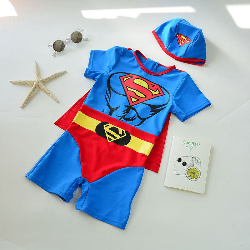 Cute children's superman one-piece swimsuit