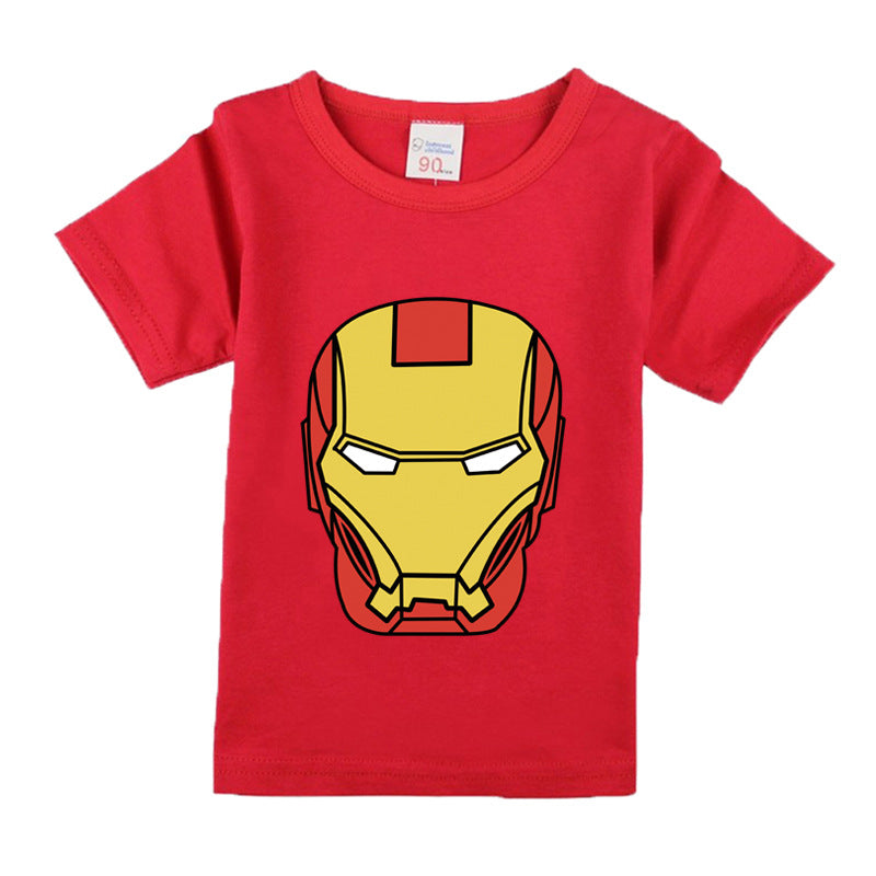 Cool Iron Man Cotton Short Sleeve T-Shirt for kids