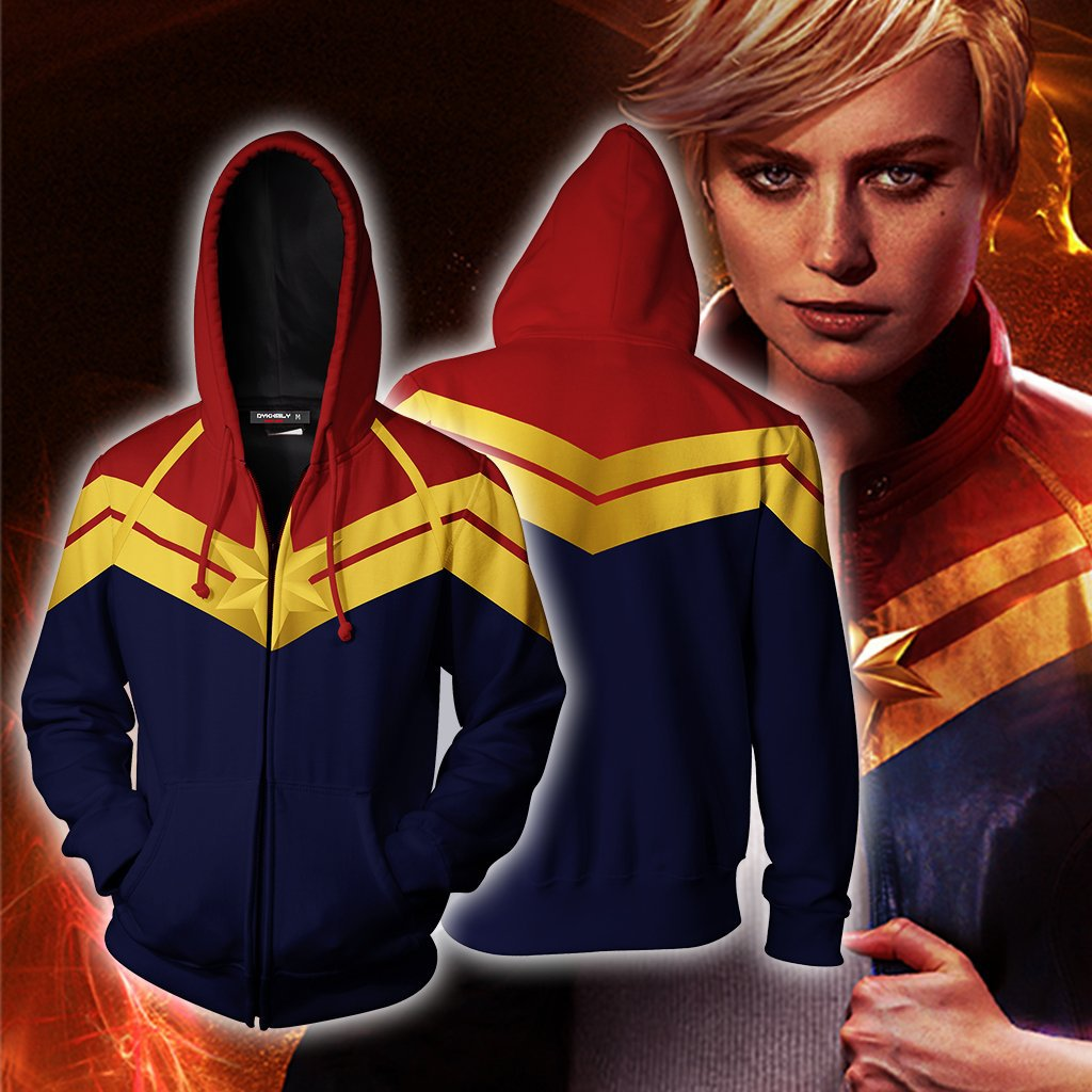 Captain Marvel Carol Danvers 3D Digital Printing Zip Up Hoodie