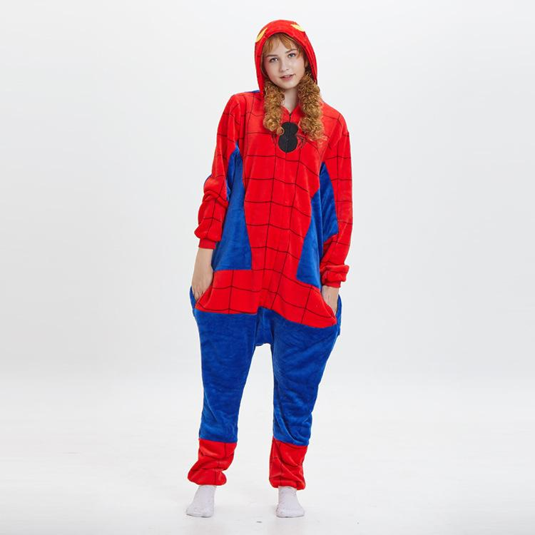 Spiderman Flannel Thickened One-Piece Pajamas