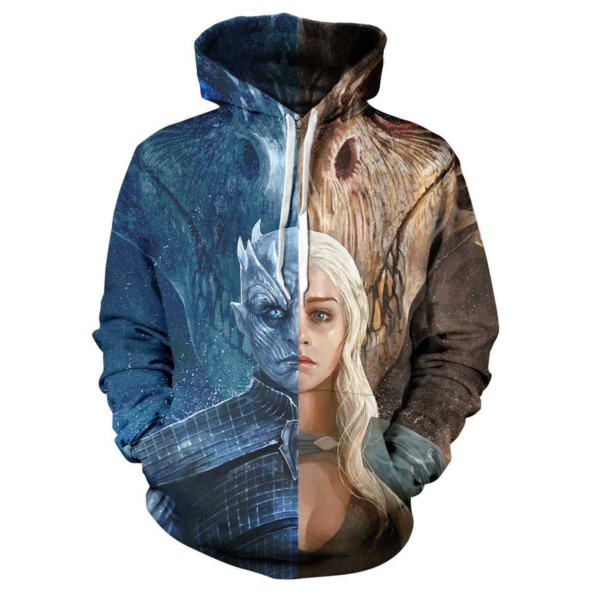 Game of Thrones Night King and Dragon Mother print Hoodie