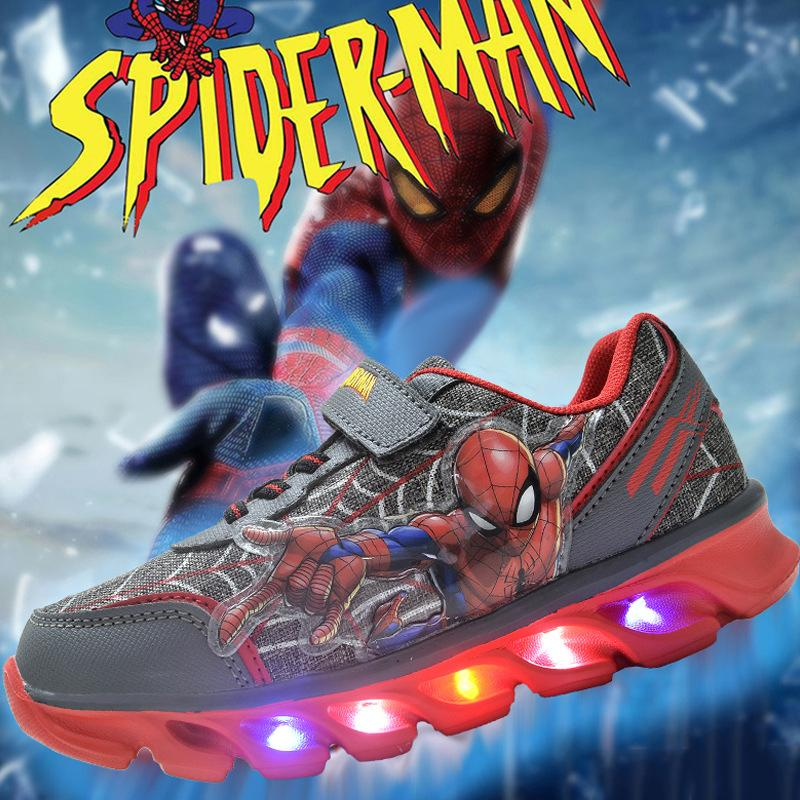 3D Pattern Spider-Man LED Illumination Breathable Sneakers for Kids