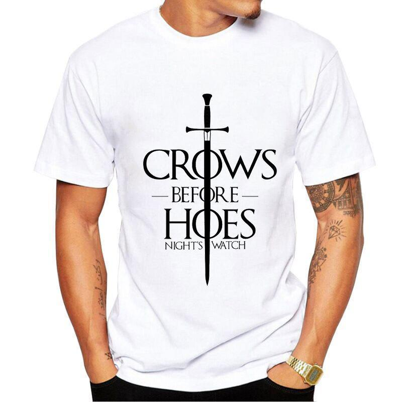 GOT Crows Before Hoes Night's Watch Print T-shirt