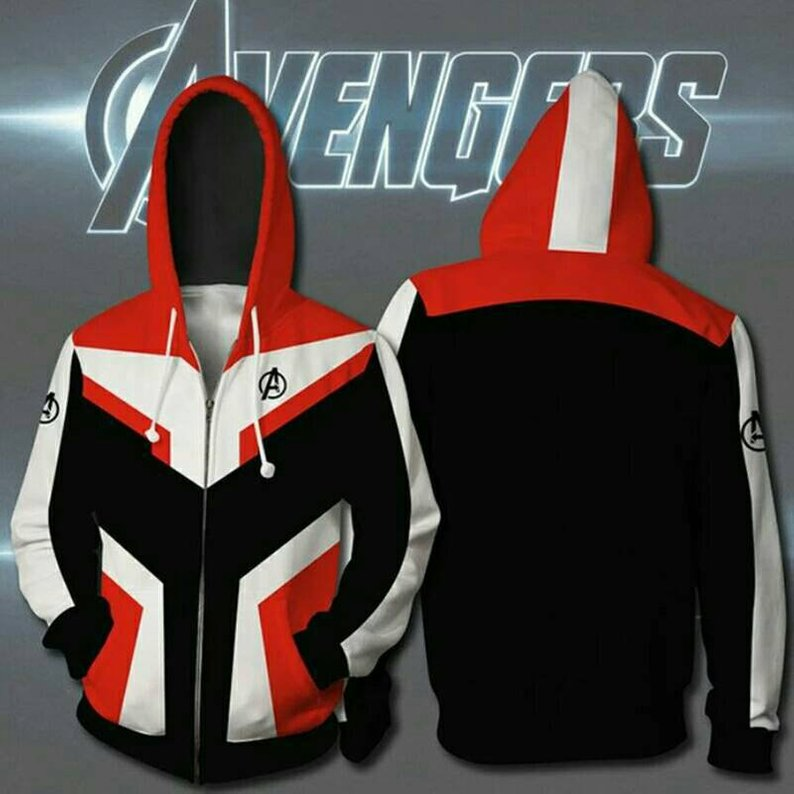 Avengers 4 : Endgame Quantum battle suit 3D red hoodie