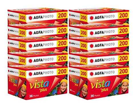 Agfa Photo Vista Plus 200 135 – 36 – Set di 10 Rullini per fotocamera a pellicola 35 mm