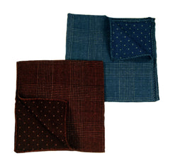 Reversible Glen Plaid Polka Dot Pocket Squares