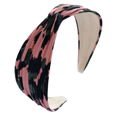 Twist Top Headband, Pink Garden