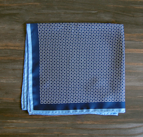 Navy Squares Silk Pocket Square