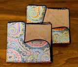Reversible Paisley/Check Silk Pocket Squares